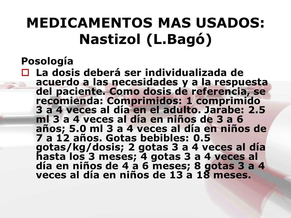 MEDICAMENTOS MAS USADOS: Nastizol (L.Bagó) Posología La dosis deberá ser individualizada de acuerdo a las necesidades y a la respuesta del paciente. C