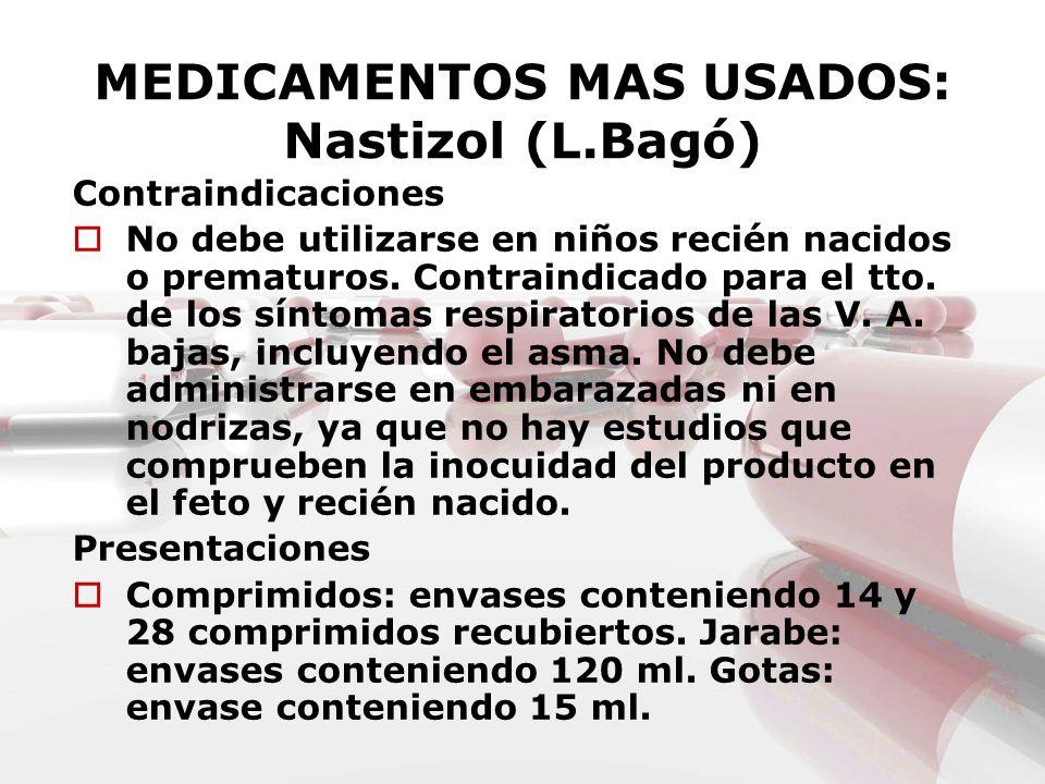 MEDICAMENTOS MAS USADOS: Nastizol (L.Bagó) Contraindicaciones No debe utilizarse en niños recién nacidos o prematuros. Contraindicado para el tto. de
