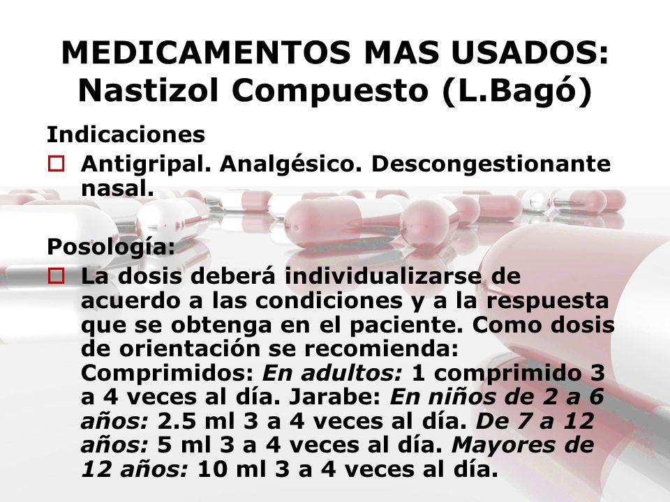 MEDICAMENTOS MAS USADOS: Nastizol Compuesto (L.Bagó) Indicaciones Antigripal. Analgésico. Descongestionante nasal. Posología: La dosis deberá individu