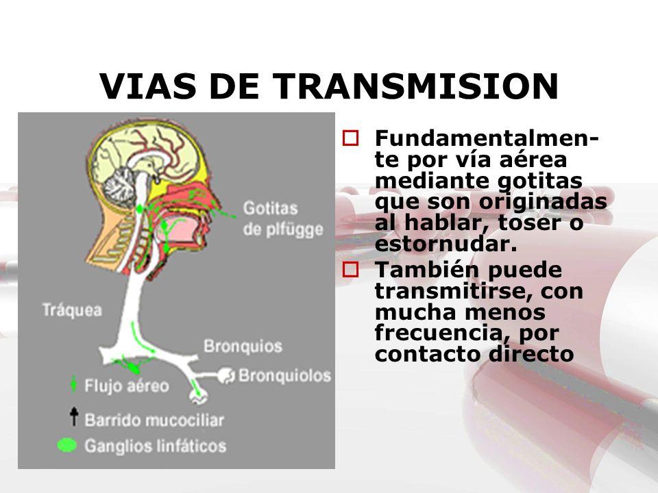 VIAS DE TRANSMISION Fundamentalmen- te por vía aérea mediante gotitas que son originadas al hablar, toser o estornudar. También puede transmitirse, co