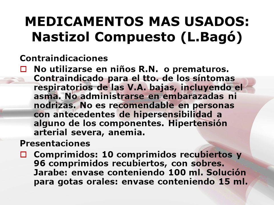 MEDICAMENTOS MAS USADOS: Nastizol Compuesto (L.Bagó) Contraindicaciones No utilizarse en niños R.N. o prematuros. Contraindicado para el tto. de los s