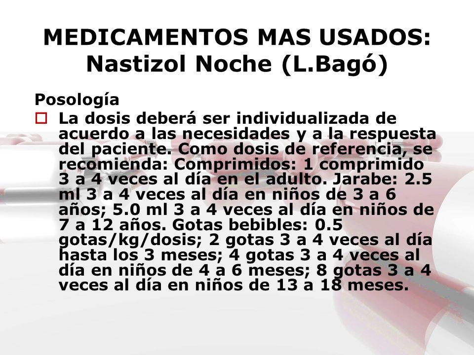 MEDICAMENTOS MAS USADOS: Nastizol Noche (L.Bagó) Posología La dosis deberá ser individualizada de acuerdo a las necesidades y a la respuesta del pacie