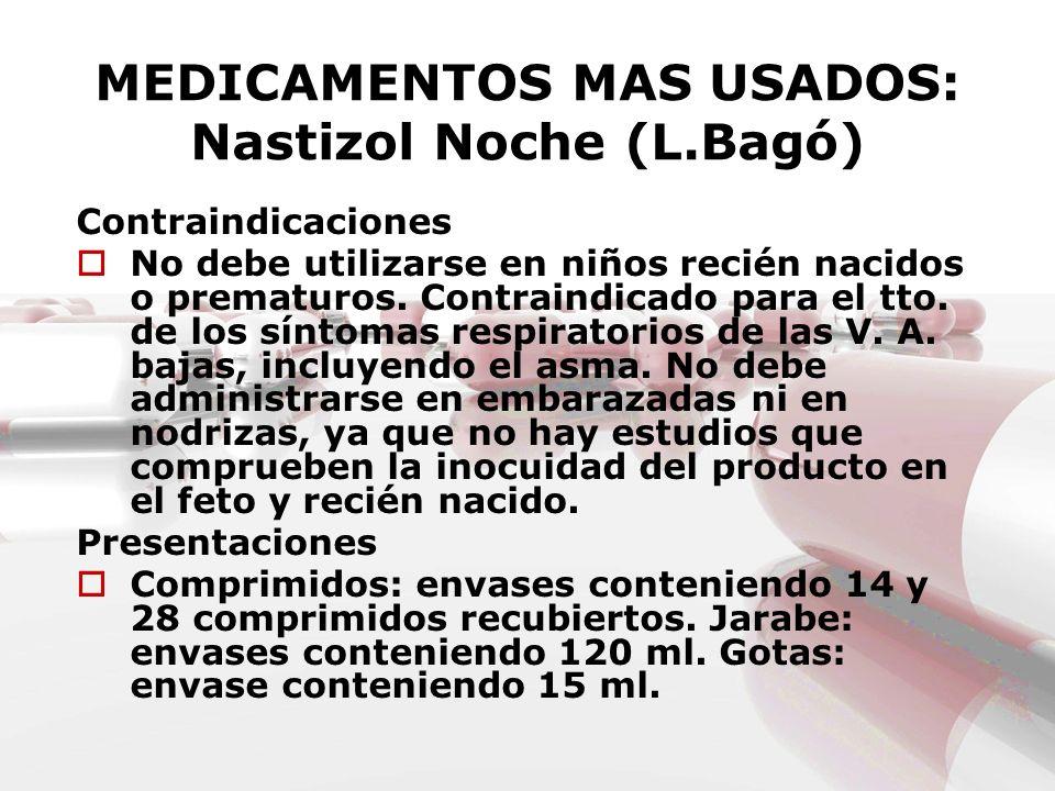 MEDICAMENTOS MAS USADOS: Nastizol Noche (L.Bagó) Contraindicaciones No debe utilizarse en niños recién nacidos o prematuros. Contraindicado para el tt