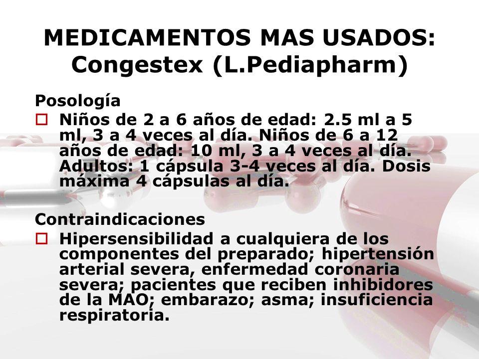 MEDICAMENTOS MAS USADOS: Congestex (L.Pediapharm) Posología Niños de 2 a 6 años de edad: 2.5 ml a 5 ml, 3 a 4 veces al día. Niños de 6 a 12 años de ed
