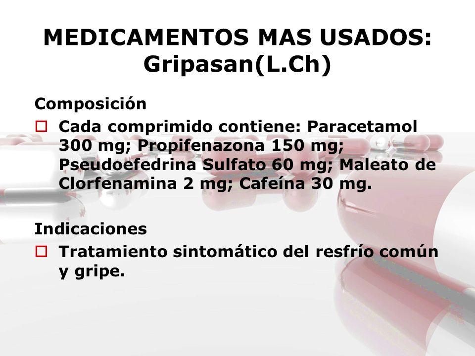 MEDICAMENTOS MAS USADOS: Gripasan(L.Ch) Composición Cada comprimido contiene: Paracetamol 300 mg; Propifenazona 150 mg; Pseudoefedrina Sulfato 60 mg;