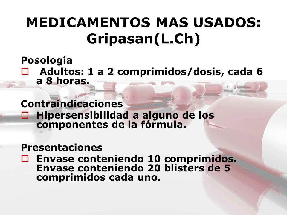 MEDICAMENTOS MAS USADOS: Gripasan(L.Ch) Posología Adultos: 1 a 2 comprimidos/dosis, cada 6 a 8 horas. Contraindicaciones Hipersensibilidad a alguno de