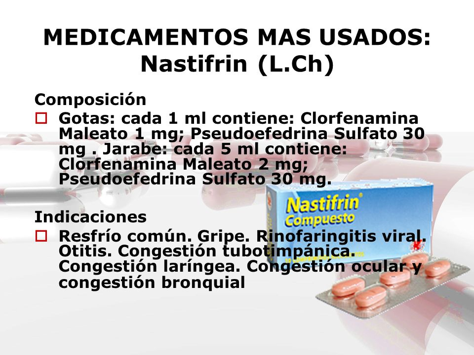 MEDICAMENTOS MAS USADOS: Nastifrin (L.Ch) Composición Gotas: cada 1 ml contiene: Clorfenamina Maleato 1 mg; Pseudoefedrina Sulfato 30 mg. Jarabe: cada