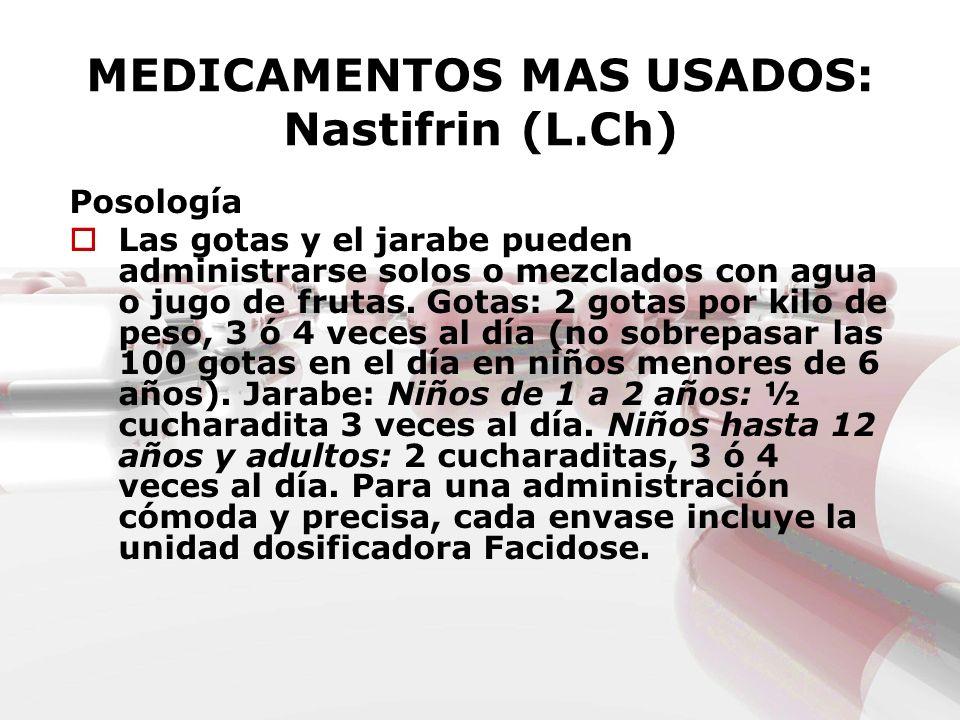 MEDICAMENTOS MAS USADOS: Nastifrin (L.Ch) Posología Las gotas y el jarabe pueden administrarse solos o mezclados con agua o jugo de frutas. Gotas: 2 g