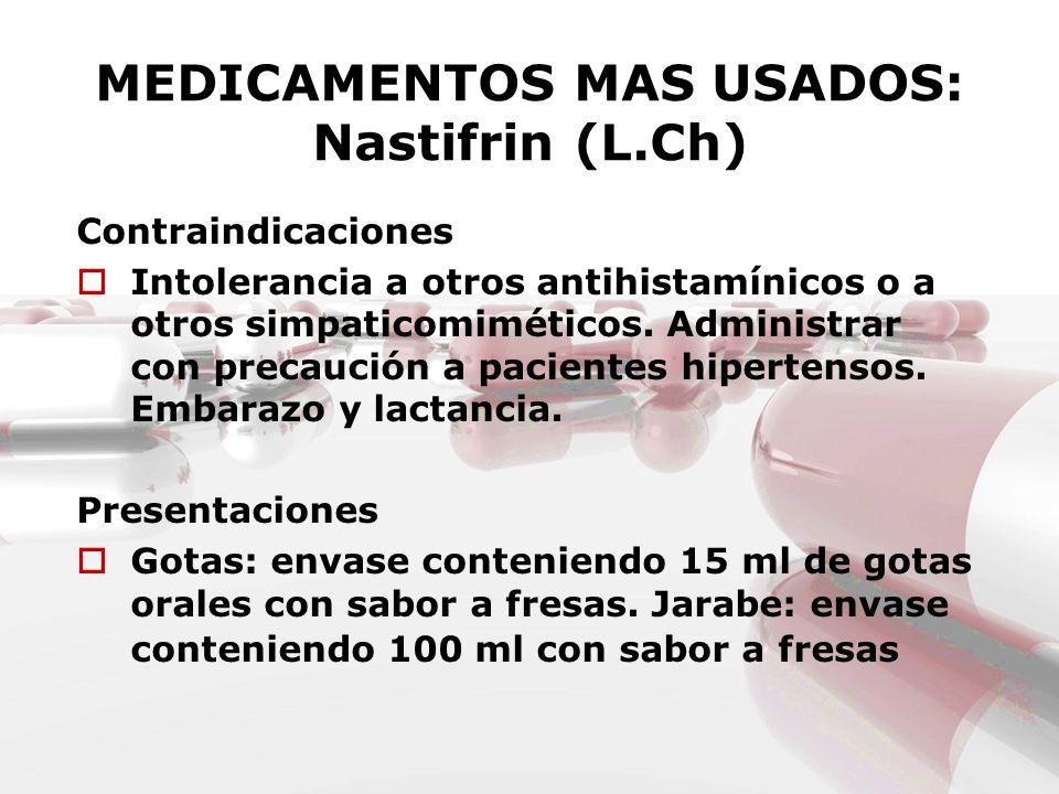 MEDICAMENTOS MAS USADOS: Nastifrin (L.Ch) Contraindicaciones Intolerancia a otros antihistamínicos o a otros simpaticomiméticos. Administrar con preca