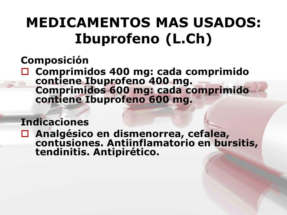 MEDICAMENTOS MAS USADOS: Ibuprofeno (L.Ch) Composición Comprimidos 400 mg: cada comprimido contiene Ibuprofeno 400 mg. Comprimidos 600 mg: cada compri