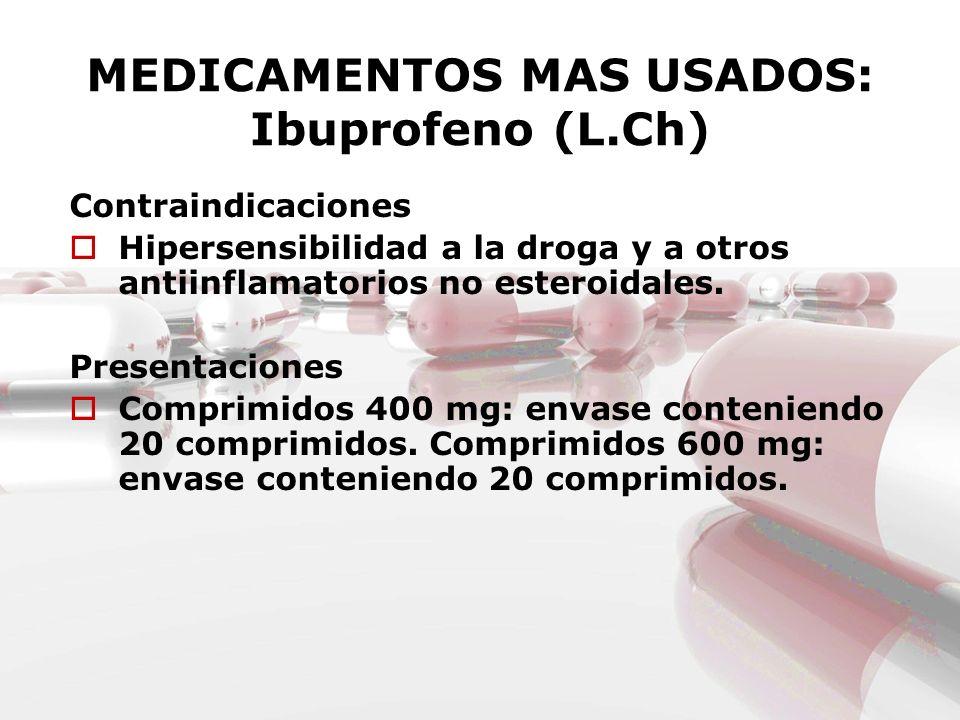 MEDICAMENTOS MAS USADOS: Ibuprofeno (L.Ch) Contraindicaciones Hipersensibilidad a la droga y a otros antiinflamatorios no esteroidales. Presentaciones