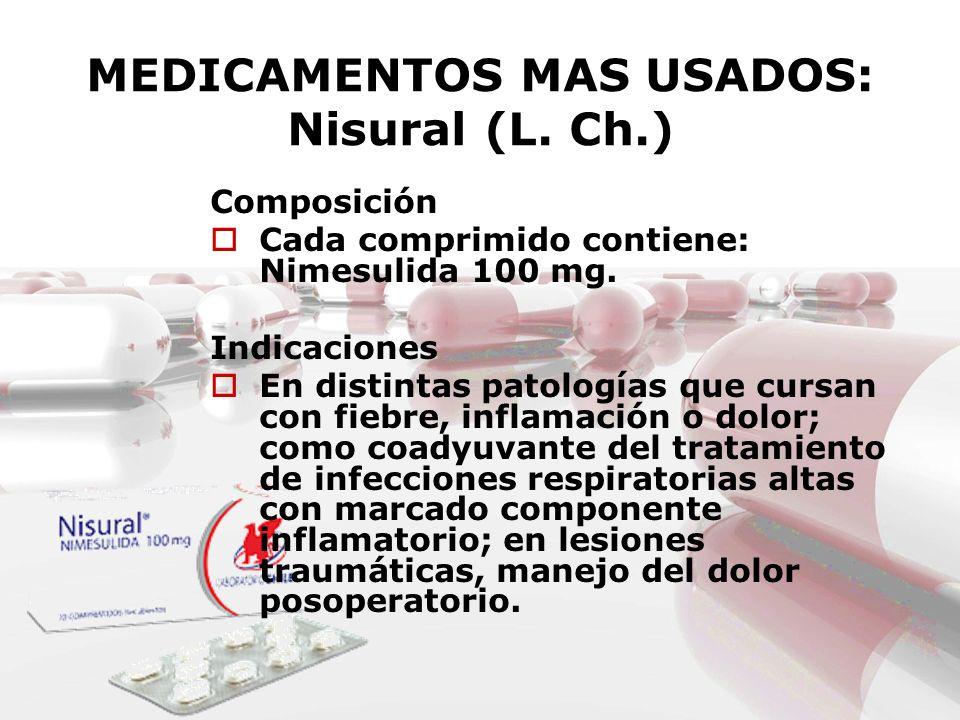 MEDICAMENTOS MAS USADOS: Nisural (L. Ch.) Composición Cada comprimido contiene: Nimesulida 100 mg. Indicaciones En distintas patologías que cursan con