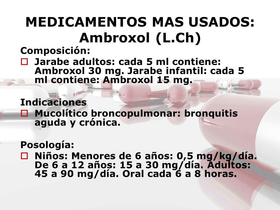 MEDICAMENTOS MAS USADOS: Ambroxol (L.Ch) Composición: Jarabe adultos: cada 5 ml contiene: Ambroxol 30 mg. Jarabe infantil: cada 5 ml contiene: Ambroxo