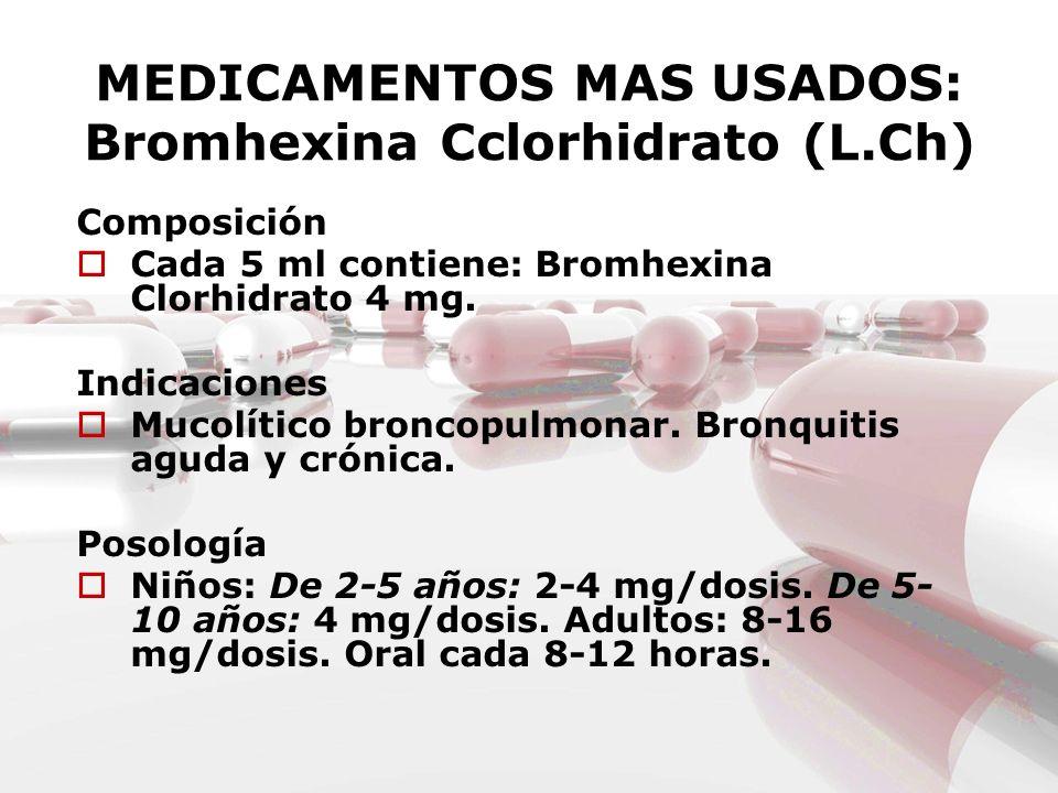 MEDICAMENTOS MAS USADOS: Bromhexina Cclorhidrato (L.Ch) Composición Cada 5 ml contiene: Bromhexina Clorhidrato 4 mg. Indicaciones Mucolítico broncopul
