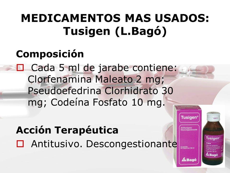 MEDICAMENTOS MAS USADOS: Tusigen (L.Bagó) Composición Cada 5 ml de jarabe contiene: Clorfenamina Maleato 2 mg; Pseudoefedrina Clorhidrato 30 mg; Codeí