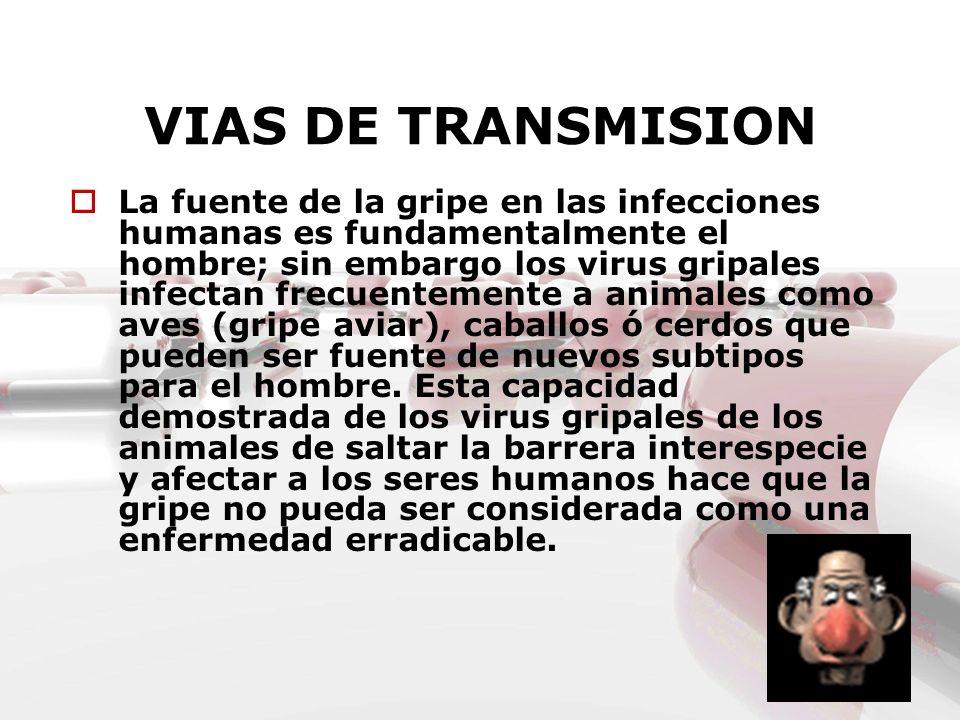 VIAS DE TRANSMISION La fuente de la gripe en las infecciones humanas es fundamentalmente el hombre; sin embargo los virus gripales infectan frecuentem