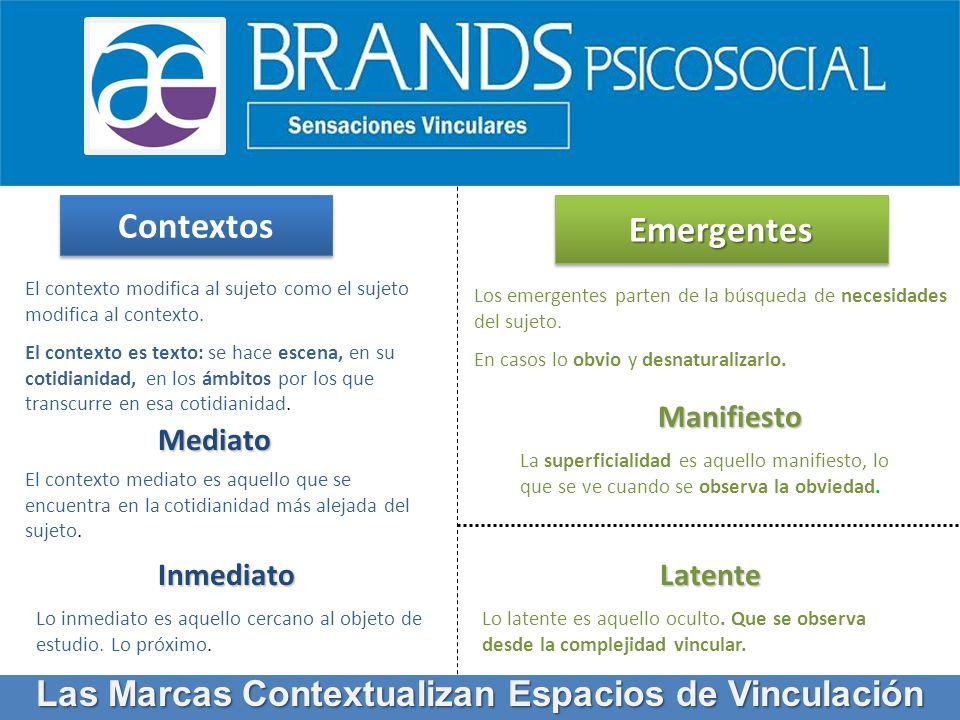 Contextos EmergentesEmergentes Manifiesto Latente Mediato Inmediato El contexto modifica al sujeto como el sujeto modifica al contexto. El contexto es