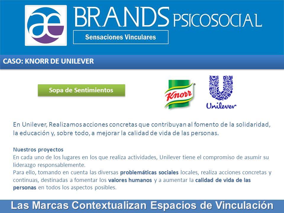 CASO: KNORR DE UNILEVER En Unilever, Realizamos acciones concretas que contribuyan al fomento de la solidaridad, la educación y, sobre todo, a mejorar