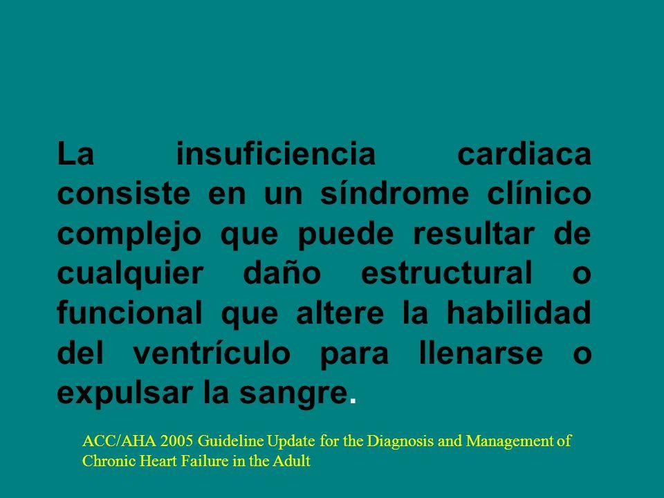 La insuficiencia cardiaca consiste en un síndrome clínico complejo que puede resultar de cualquier daño estructural o funcional que altere la habilida