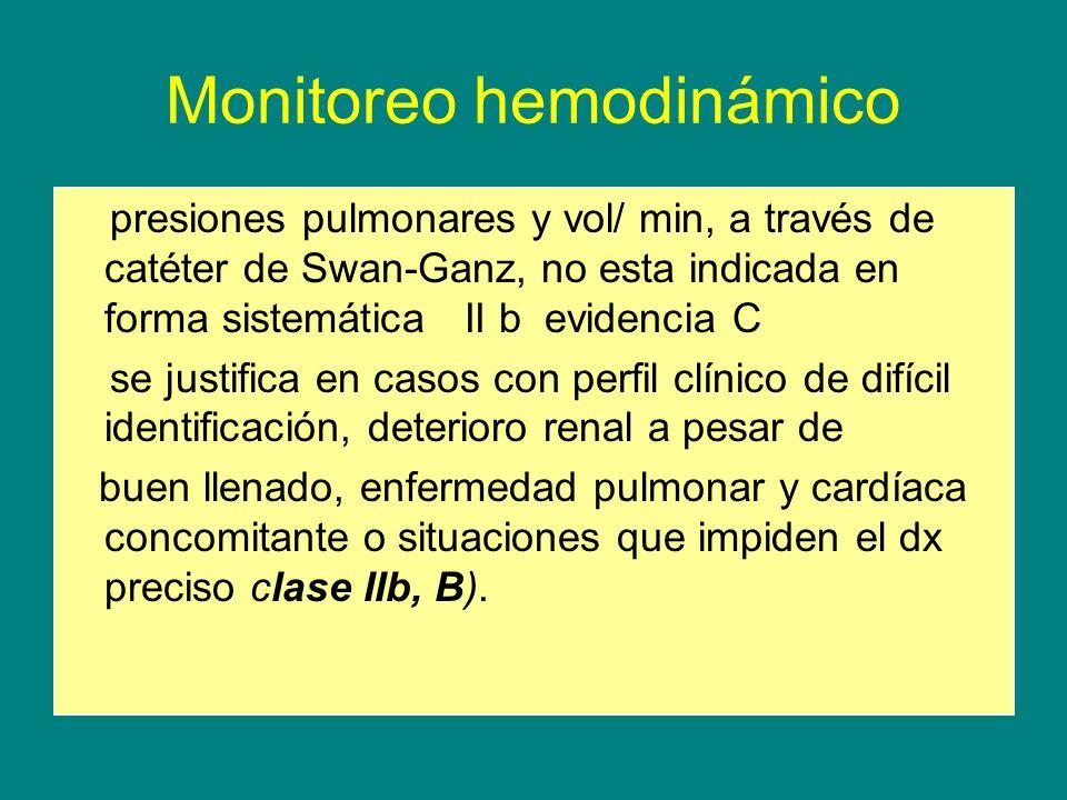 Monitoreo hemodinámico presiones pulmonares y vol/ min, a través de catéter de Swan-Ganz, no esta indicada en forma sistemática II b evidencia C se ju