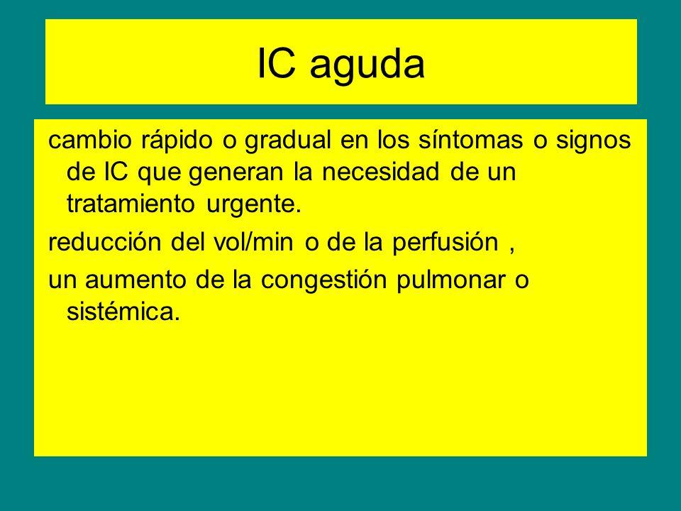 IC aguda cambio rápido o gradual en los síntomas o signos de IC que generan la necesidad de un tratamiento urgente. reducción del vol/min o de la perf