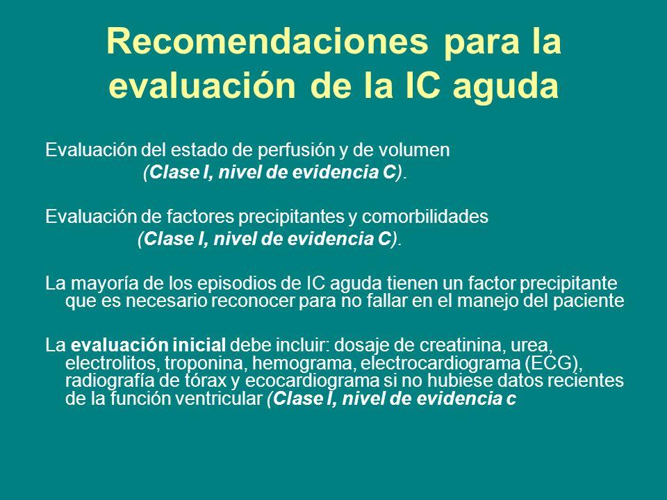 Recomendaciones para la evaluación de la IC aguda Evaluación del estado de perfusión y de volumen (Clase I, nivel de evidencia C). Evaluación de facto