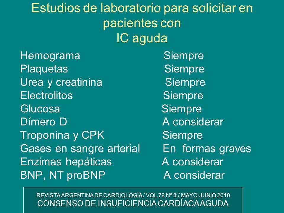 Estudios de laboratorio para solicitar en pacientes con IC aguda Hemograma Siempre Plaquetas Siempre Urea y creatinina Siempre Electrolitos Siempre Gl