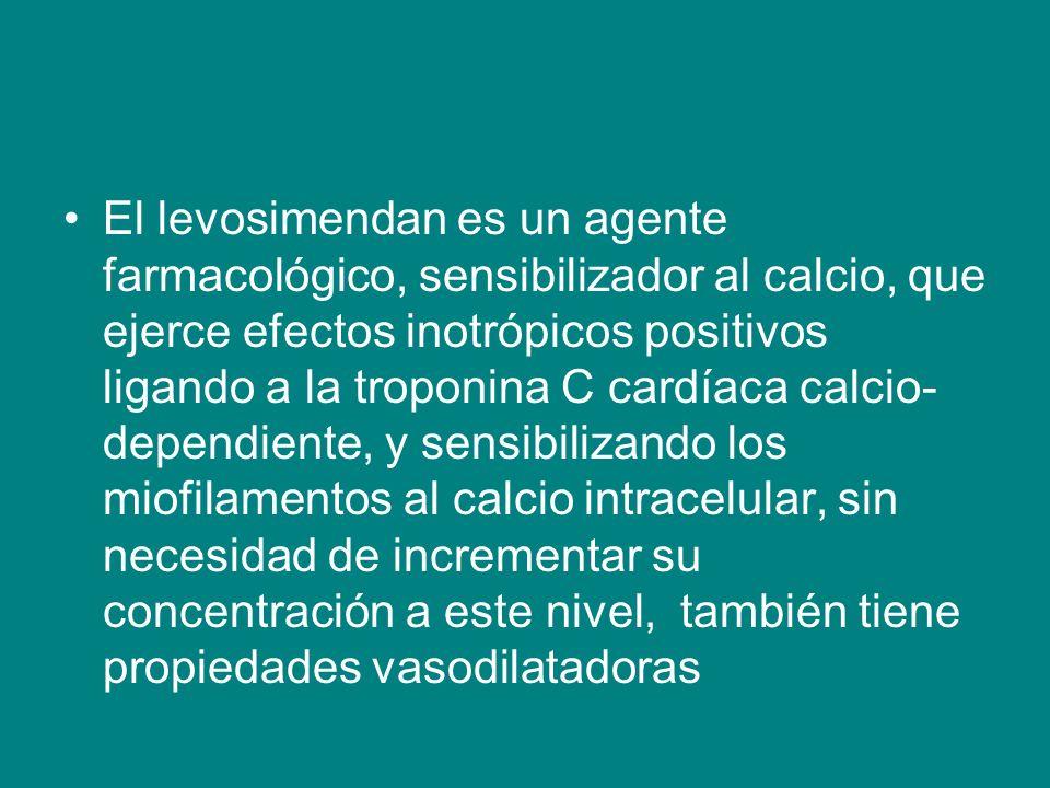 El levosimendan es un agente farmacológico, sensibilizador al calcio, que ejerce efectos inotrópicos positivos ligando a la troponina C cardíaca calci