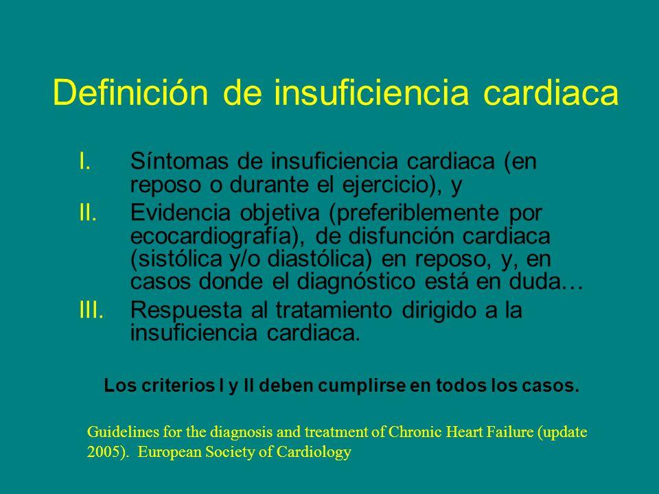 Definición de insuficiencia cardiaca I.Síntomas de insuficiencia cardiaca (en reposo o durante el ejercicio), y II.Evidencia objetiva (preferiblemente