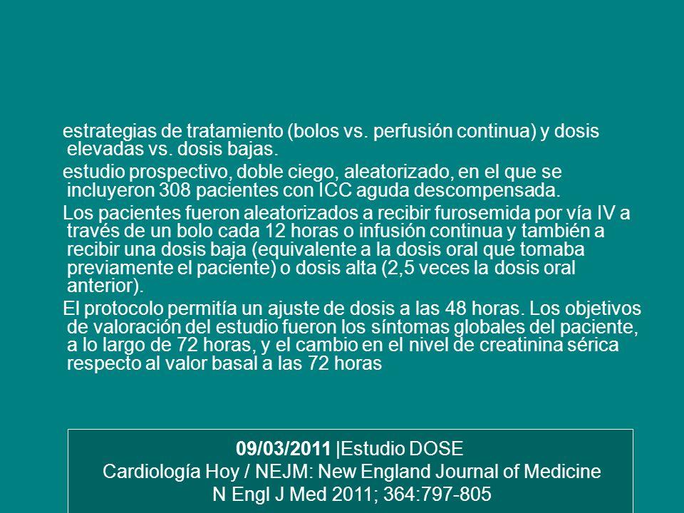 estrategias de tratamiento (bolos vs. perfusión continua) y dosis elevadas vs. dosis bajas. estudio prospectivo, doble ciego, aleatorizado, en el que