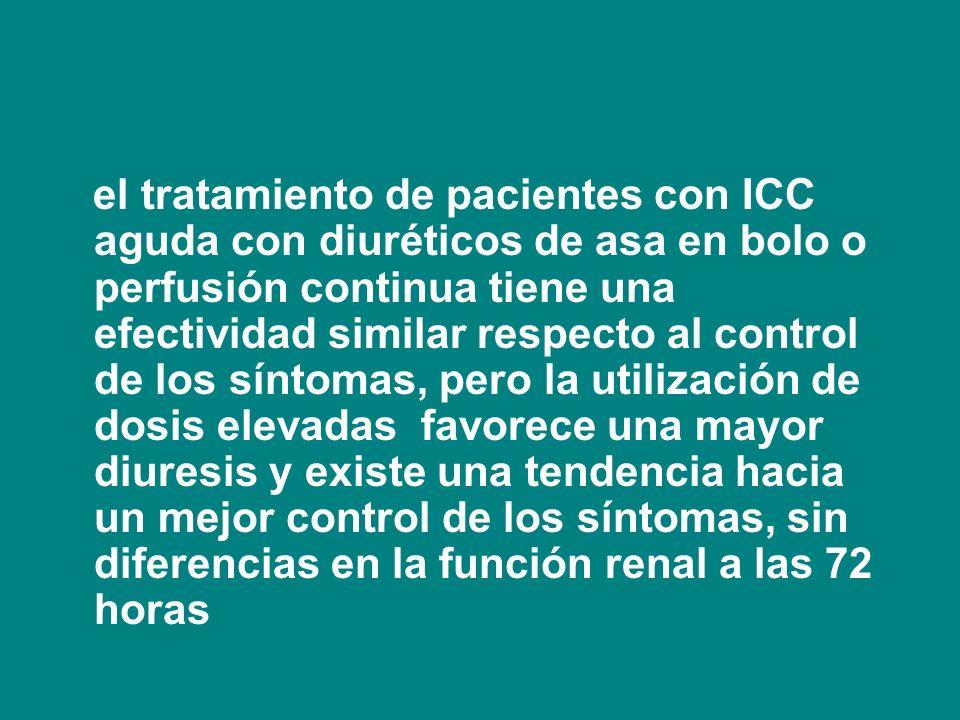 el tratamiento de pacientes con ICC aguda con diuréticos de asa en bolo o perfusión continua tiene una efectividad similar respecto al control de los
