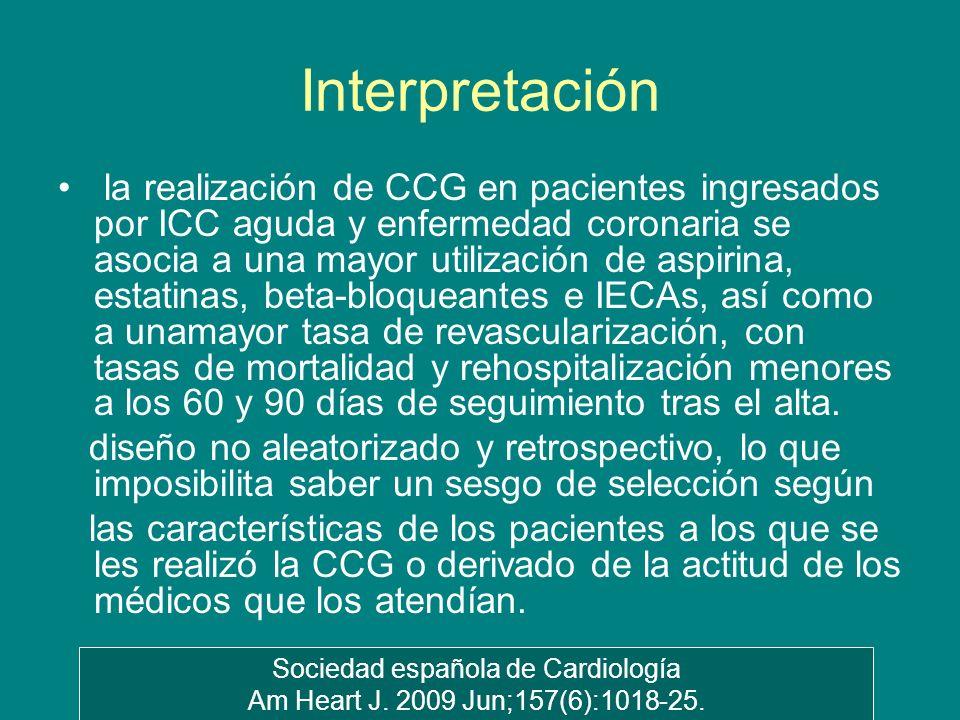Interpretación la realización de CCG en pacientes ingresados por ICC aguda y enfermedad coronaria se asocia a una mayor utilización de aspirina, estat