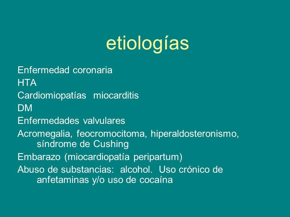 etiologías Enfermedad coronaria HTA Cardiomiopatías miocarditis DM Enfermedades valvulares Acromegalia, feocromocitoma, hiperaldosteronismo, síndrome