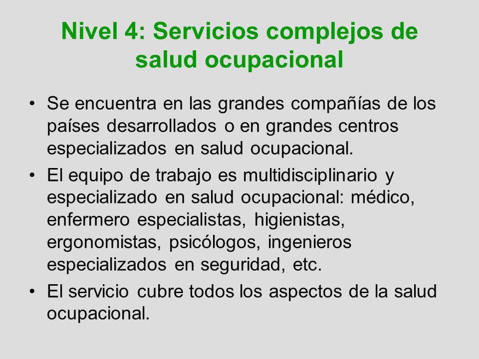 Nivel 4: Servicios complejos de salud ocupacional Se encuentra en las grandes compañías de los países desarrollados o en grandes centros especializado
