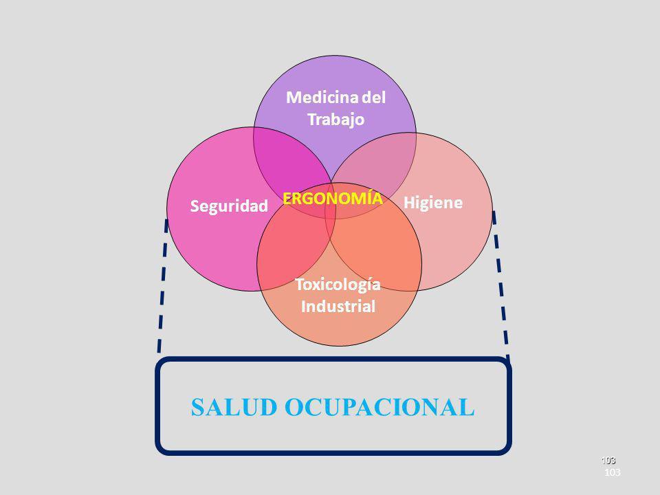 103 103 SALUD OCUPACIONAL Medicina del Trabajo Higiene Seguridad Toxicología Industrial ERGONOMÍA