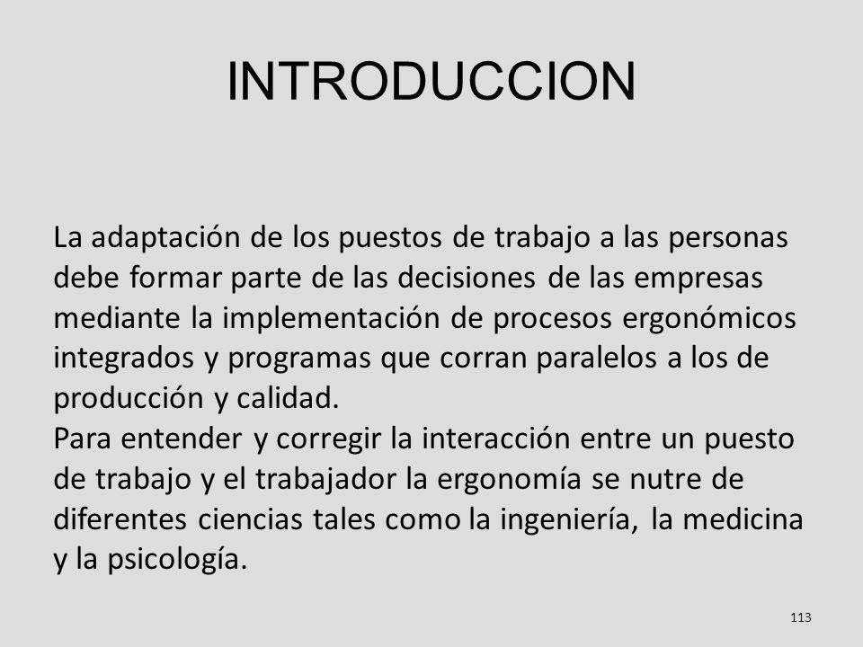 INTRODUCCION 113 La adaptación de los puestos de trabajo a las personas debe formar parte de las decisiones de las empresas mediante la implementación