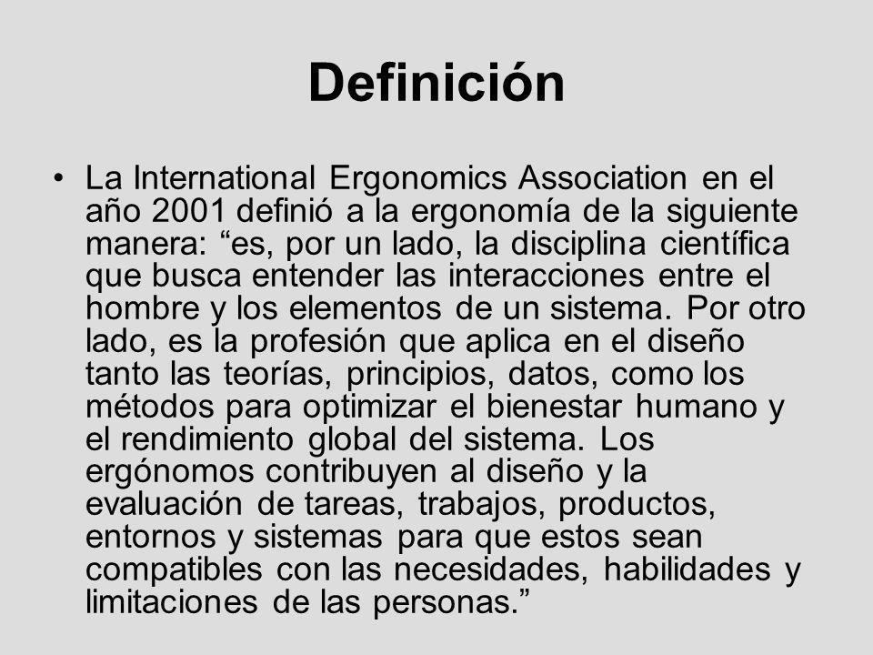 Definición La International Ergonomics Association en el año 2001 definió a la ergonomía de la siguiente manera: es, por un lado, la disciplina cientí