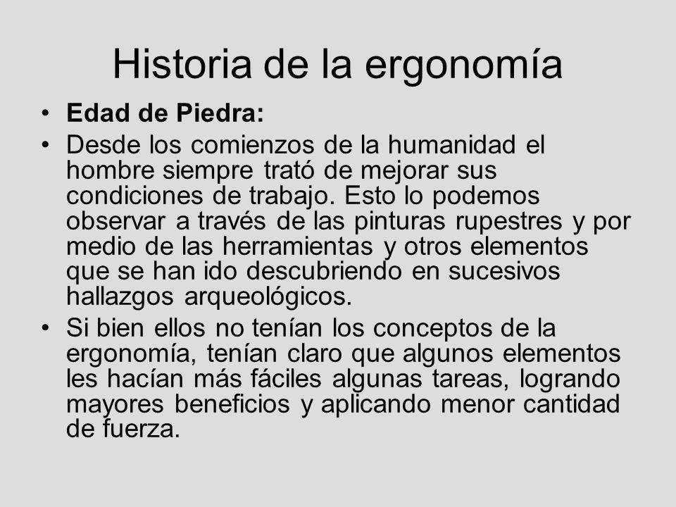 Historia de la ergonomía Edad de Piedra: Desde los comienzos de la humanidad el hombre siempre trató de mejorar sus condiciones de trabajo. Esto lo po