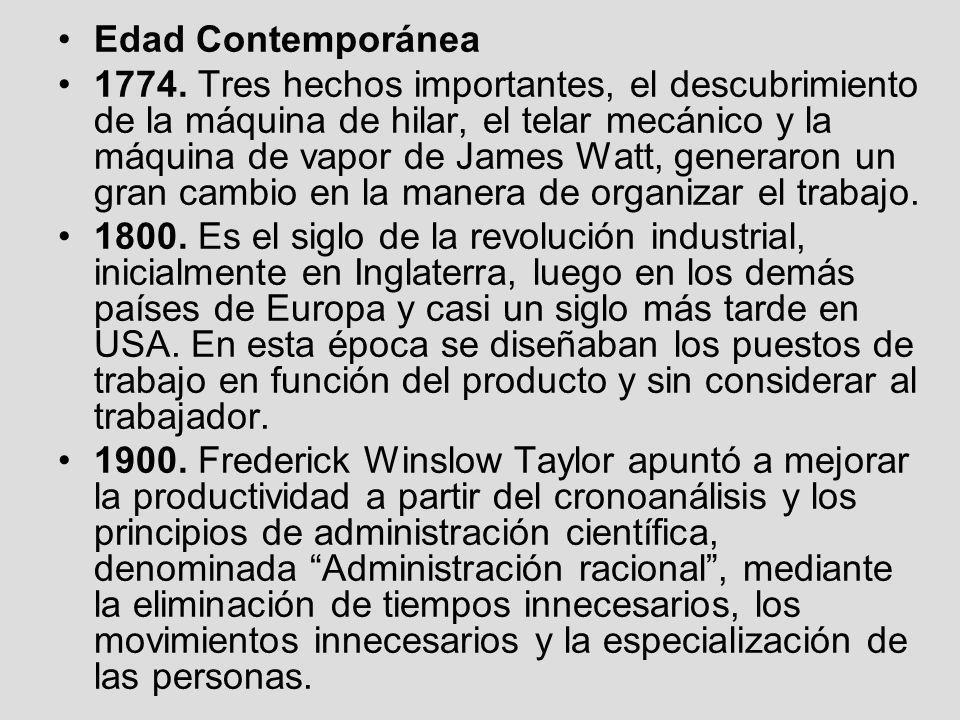 Edad Contemporánea 1774. Tres hechos importantes, el descubrimiento de la máquina de hilar, el telar mecánico y la máquina de vapor de James Watt, gen