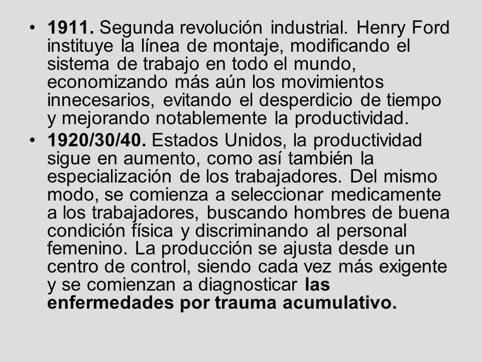 1911. Segunda revolución industrial. Henry Ford instituye la línea de montaje, modificando el sistema de trabajo en todo el mundo, economizando más aú