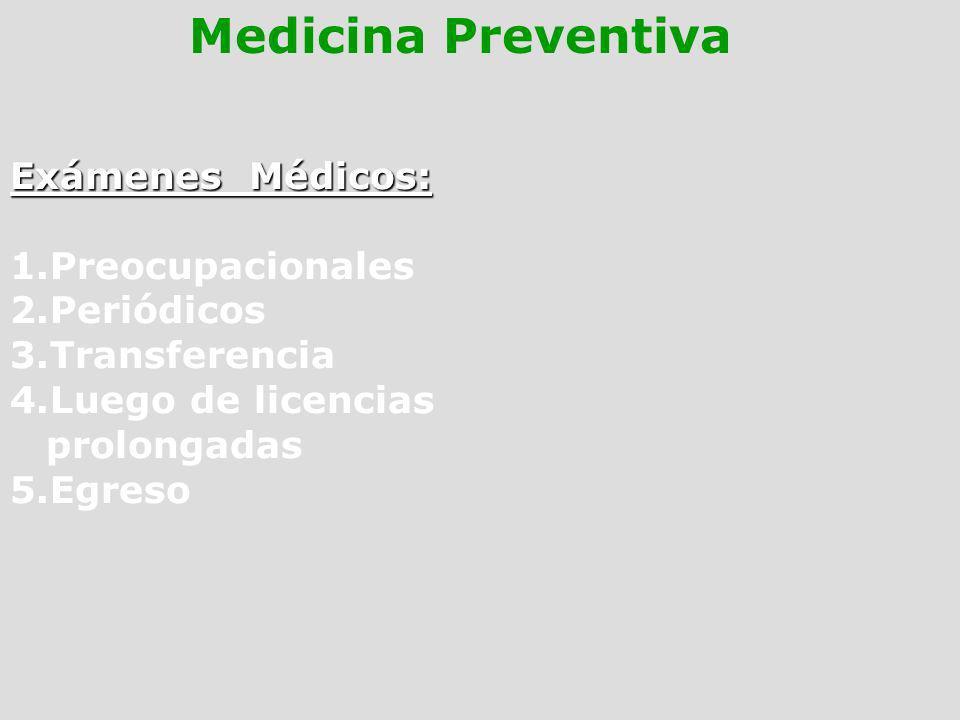 Medicina Preventiva Exámenes Médicos: 1.Preocupacionales 2.Periódicos 3.Transferencia 4.Luego de licencias prolongadas 5.Egreso