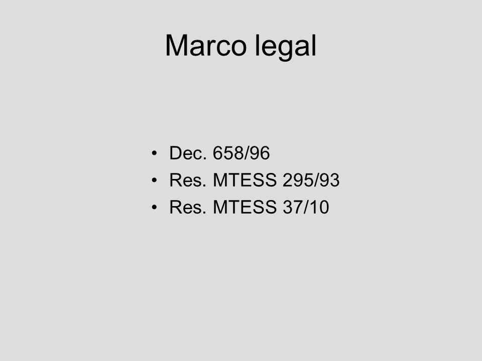 Marco legal Dec. 658/96 Res. MTESS 295/93 Res. MTESS 37/10