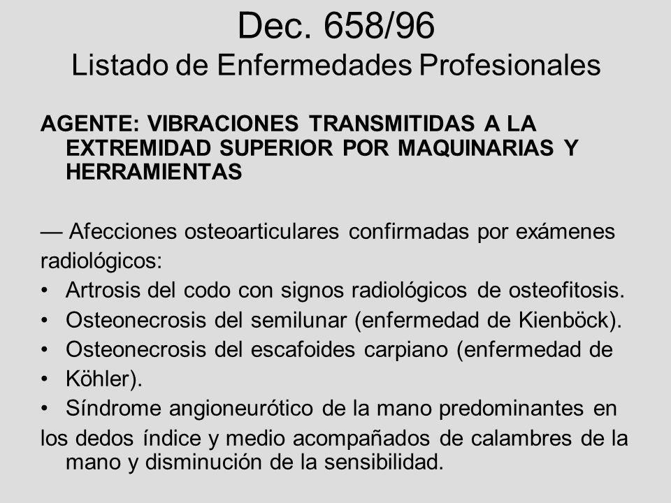 Dec. 658/96 Listado de Enfermedades Profesionales AGENTE: VIBRACIONES TRANSMITIDAS A LA EXTREMIDAD SUPERIOR POR MAQUINARIAS Y HERRAMIENTAS Afecciones