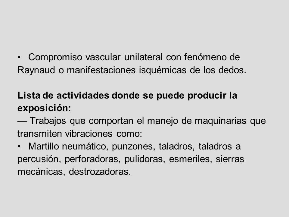 Compromiso vascular unilateral con fenómeno de Raynaud o manifestaciones isquémicas de los dedos. Lista de actividades donde se puede producir la expo