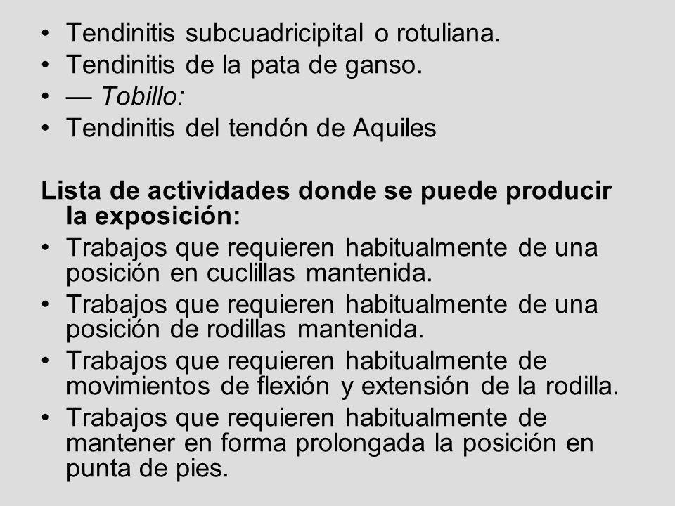 Tendinitis subcuadricipital o rotuliana. Tendinitis de la pata de ganso. Tobillo: Tendinitis del tendón de Aquiles Lista de actividades donde se puede