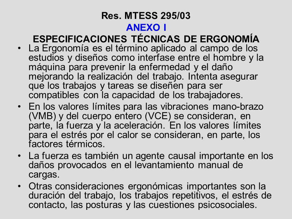 Res. MTESS 295/03 ANEXO I ESPECIFICACIONES TÉCNICAS DE ERGONOMÍA La Ergonomía es el término aplicado al campo de los estudios y diseños como interfase