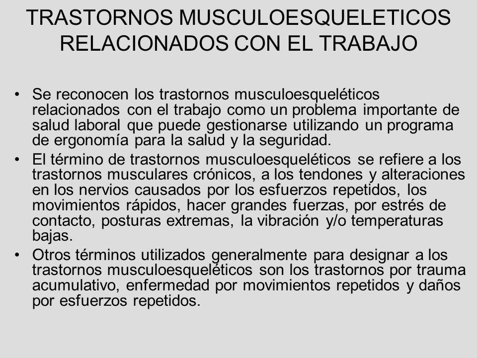TRASTORNOS MUSCULOESQUELETICOS RELACIONADOS CON EL TRABAJO Se reconocen los trastornos musculoesqueléticos relacionados con el trabajo como un problem