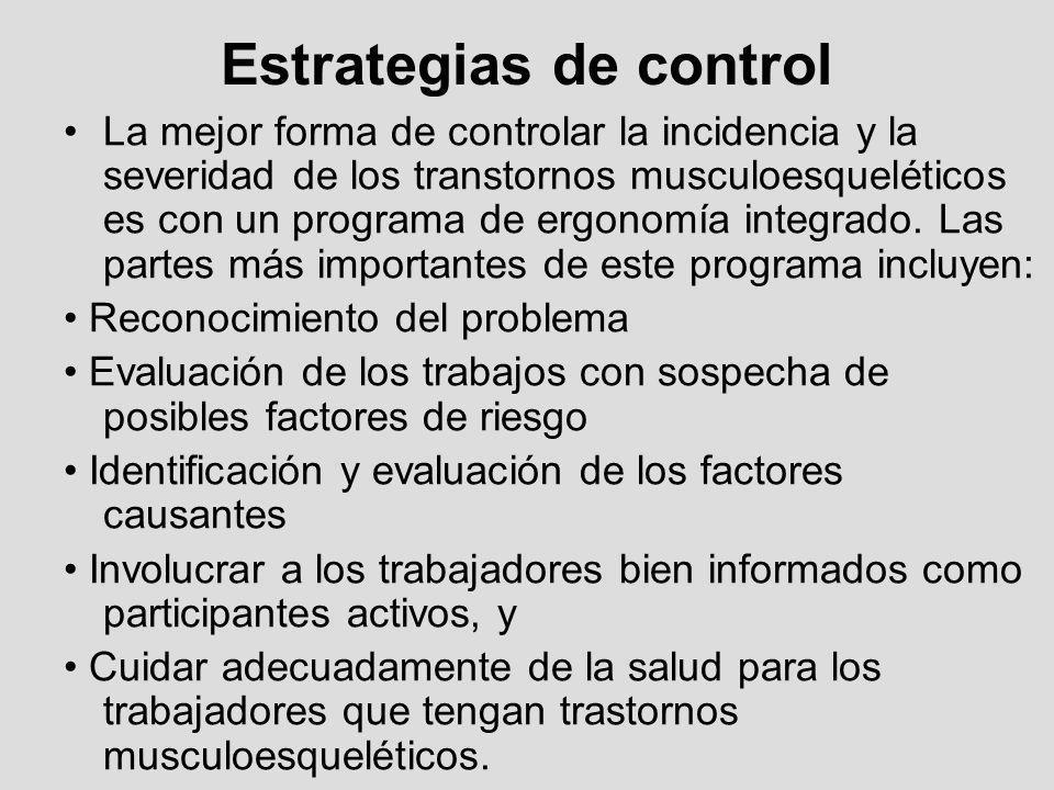 Estrategias de control La mejor forma de controlar la incidencia y la severidad de los transtornos musculoesqueléticos es con un programa de ergonomía