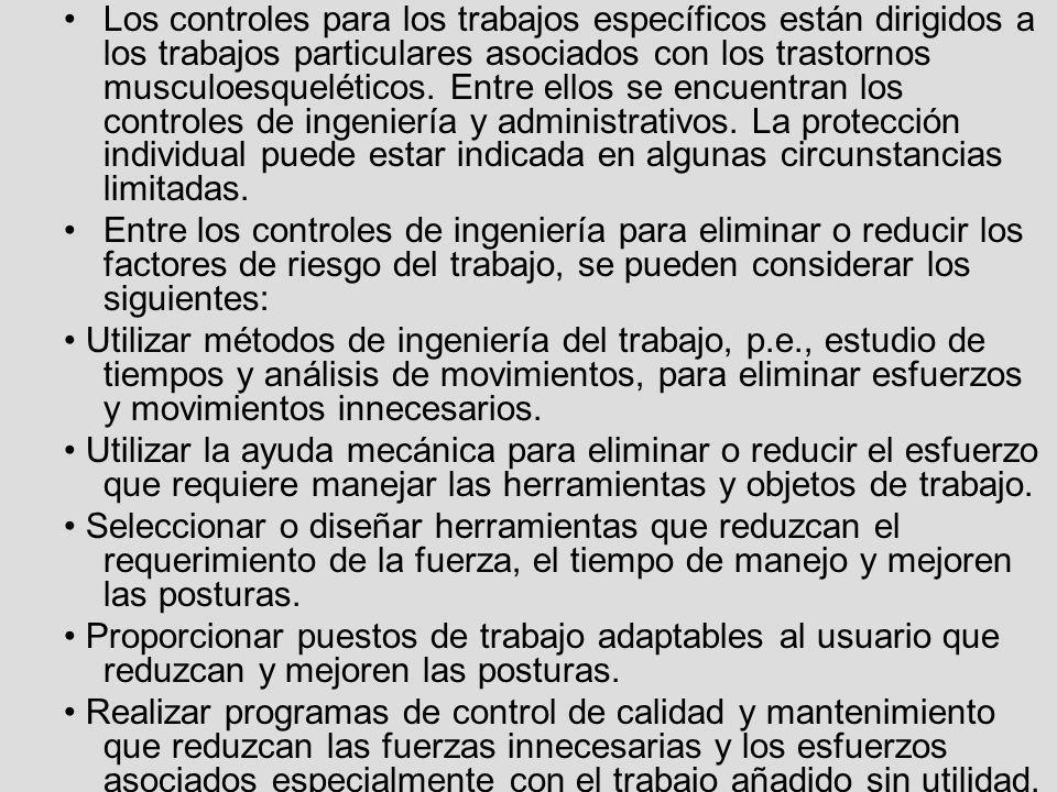 Los controles para los trabajos específicos están dirigidos a los trabajos particulares asociados con los trastornos musculoesqueléticos. Entre ellos