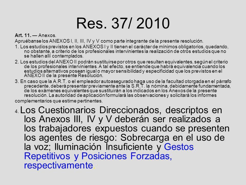 Res. 37/ 2010 Art. 11. Anexos. Apruébanse los ANEXOS I, II, III, IV y V como parte integrante de la presente resolución. 1. Los estudios previstos en
